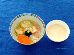 冷や麦の煮麺 とろろ付き(レシピは後日公開)