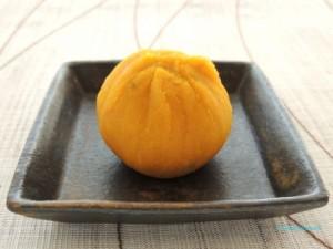 かぼちゃの柚子風味茶巾絞りのできあがり